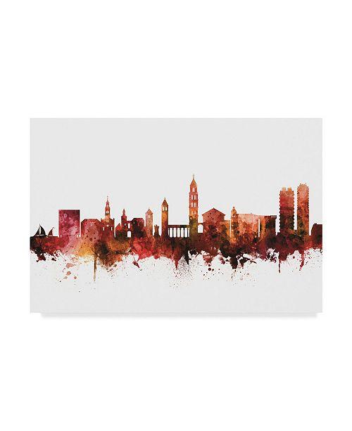 "Trademark Global Michael Tompsett Split Croatia Skyline Red Canvas Art - 20"" x 25"""