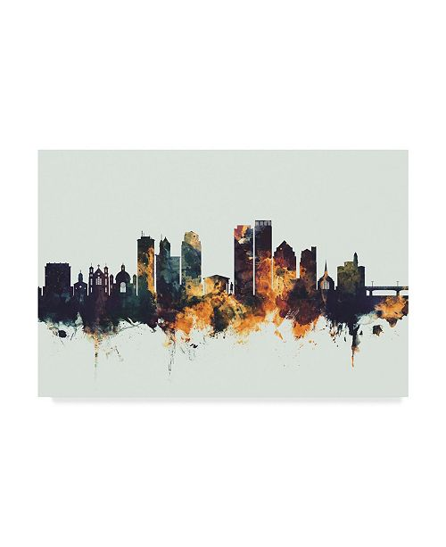 "Trademark Global Michael Tompsett Dayton Ohio Skyline IV Canvas Art - 20"" x 25"""