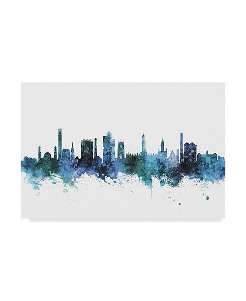 "Trademark Global Michael Tompsett Bradford England Skyline Blue Canvas Art - 37"" x 49"""