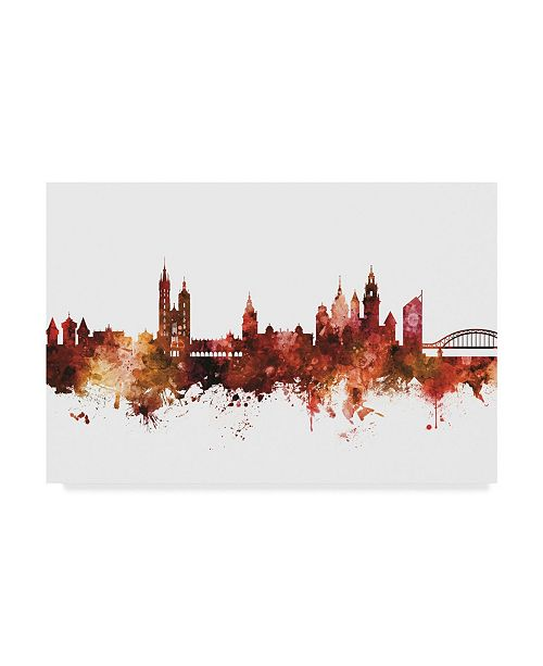 "Trademark Global Michael Tompsett Krakow Poland Skyline Red Canvas Art - 37"" x 49"""