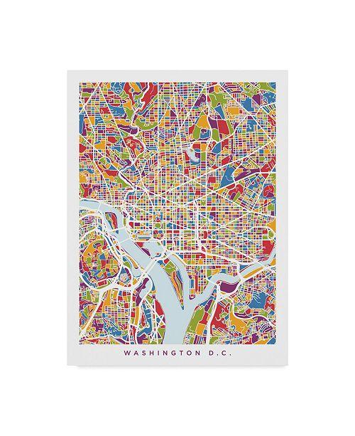 "Trademark Global Michael Tompsett Washington DC Street Map II Canvas Art - 15"" x 20"""