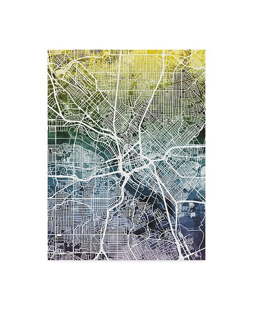 "Trademark Global Michael Tompsett Dallas Texas City Map Blue Yellow Canvas Art - 37"" x 49"""