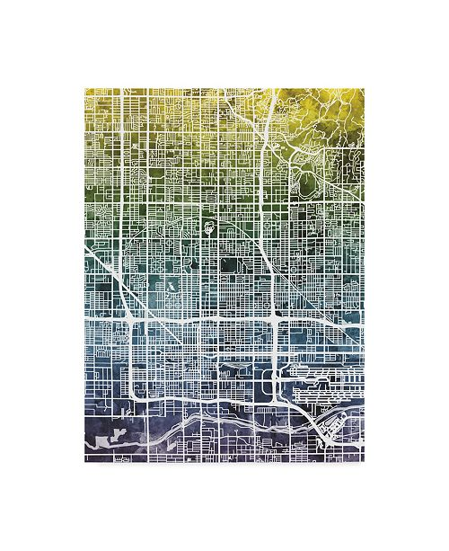 "Trademark Global Michael Tompsett Phoenix Arizona City Map Blue Yellow Canvas Art - 37"" x 49"""