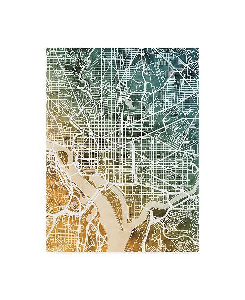 "Trademark Global Michael Tompsett Washington DC City Street Map Teal Orange Canvas Art - 20"" x 25"""