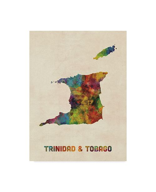 "Trademark Global Michael Tompsett Trinidad and Tobago Watercolor Map Canvas Art - 37"" x 49"""
