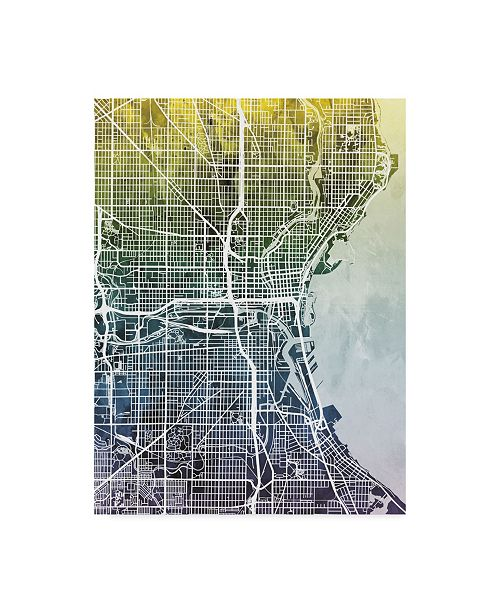 "Trademark Global Michael Tompsett Milwaukee Wisconsin City Map Blue Yellow Canvas Art - 37"" x 49"""