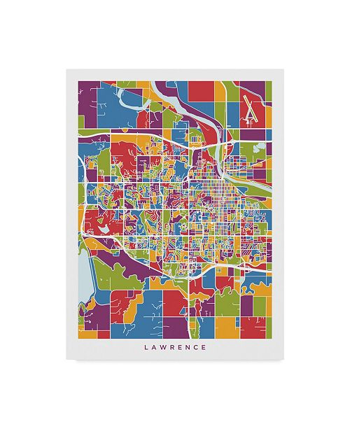 "Trademark Global Michael Tompsett Lawrence Kansas City Map Canvas Art - 37"" x 49"""