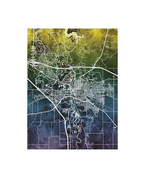 "Trademark Global Michael Tompsett Iowa City Map Blue Yellow Canvas Art - 20"" x 25"""