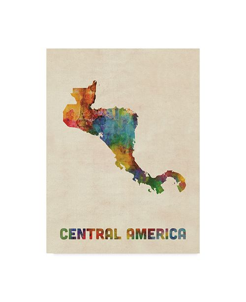 "Trademark Global Michael Tompsett Central America Watercolor Map Canvas Art - 20"" x 25"""