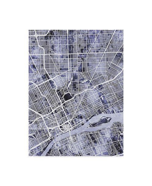 "Trademark Global Michael Tompsett Detroit Michigan City Map Blue Canvas Art - 37"" x 49"""