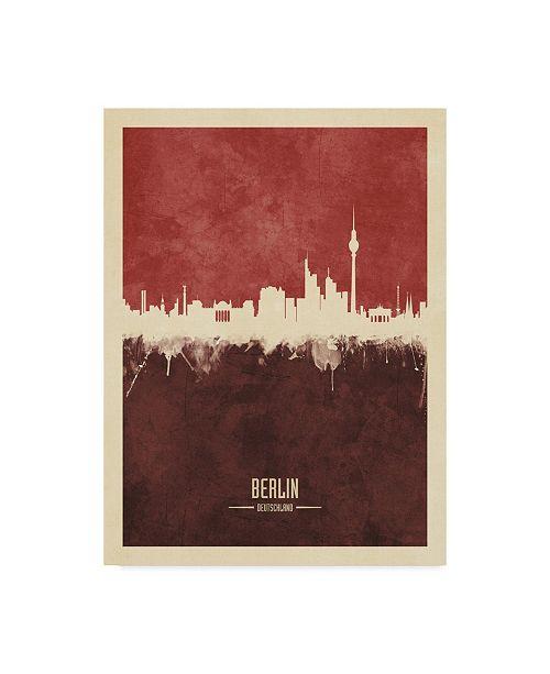 "Trademark Global Michael Tompsett Berlin Germany Skyline Red II Canvas Art - 20"" x 25"""