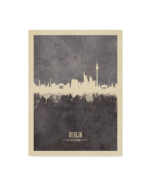 "Trademark Global Michael Tompsett Berlin Germany Skyline Gray Canvas Art - 37"" x 49"""