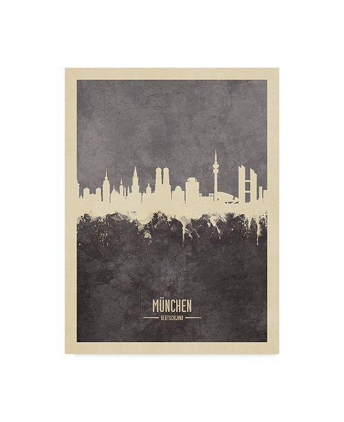 "Trademark Global Michael Tompsett Munich Germany Skyline Gray Canvas Art - 20"" x 25"""