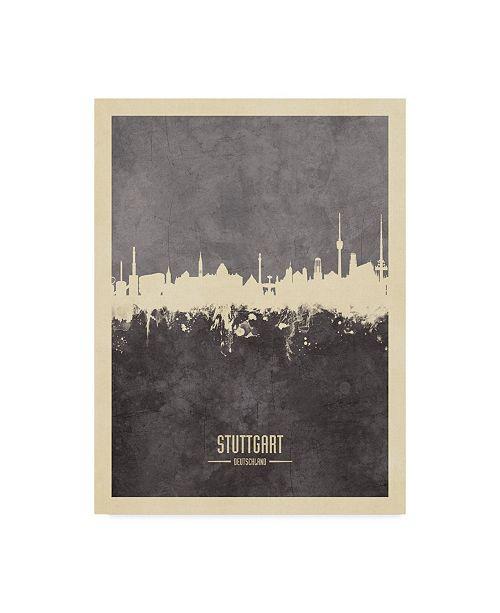"""Trademark Global Michael Tompsett Stuttgart Germany Skyline Gray Canvas Art - 15"""" x 20"""""""