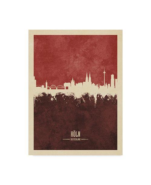 "Trademark Global Michael Tompsett Cologne Germany Skyline Red II Canvas Art - 20"" x 25"""