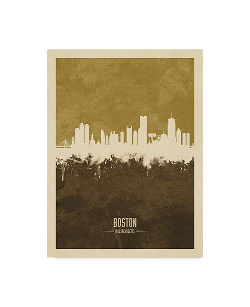 "Trademark Global Michael Tompsett Boston Massachusetts Skyline Brown Canvas Art - 20"" x 25"""