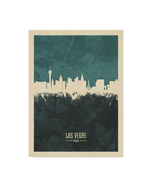"Trademark Global Michael Tompsett Las Vegas Nevada Skyline Teal Canvas Art - 37"" x 49"""