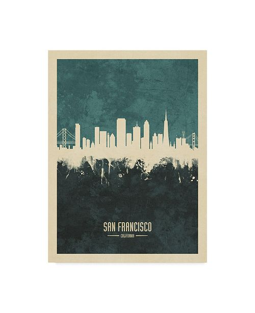 "Trademark Global Michael Tompsett San Francisco California Skyline Teal Canvas Art - 20"" x 25"""