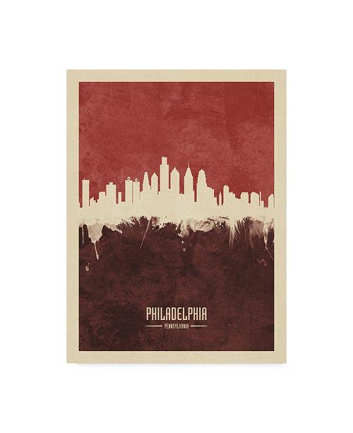 "Trademark Global Michael Tompsett Philadelphia Pennsylvania Skyline Red II Canvas Art - 37"" x 49"""