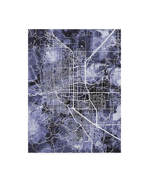 "Trademark Global Michael Tompsett Boulder Colorado City Map Blue Canvas Art - 20"" x 25"""