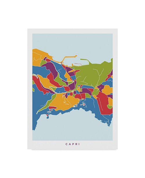 "Trademark Global Michael Tompsett Capri Italy City Street Map Canvas Art - 37"" x 49"""