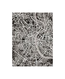 "Michael Tompsett Cologne Germany City Map Black Canvas Art - 37"" x 49"""