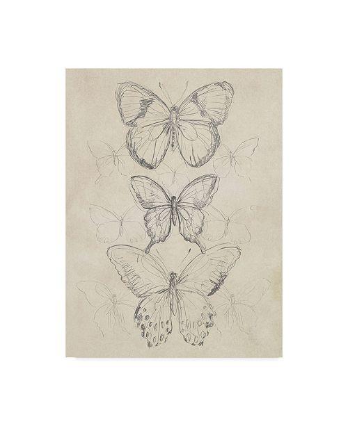 "Trademark Global June Erica Vess Vintage Butterfly Sketch I Canvas Art - 37"" x 49"""