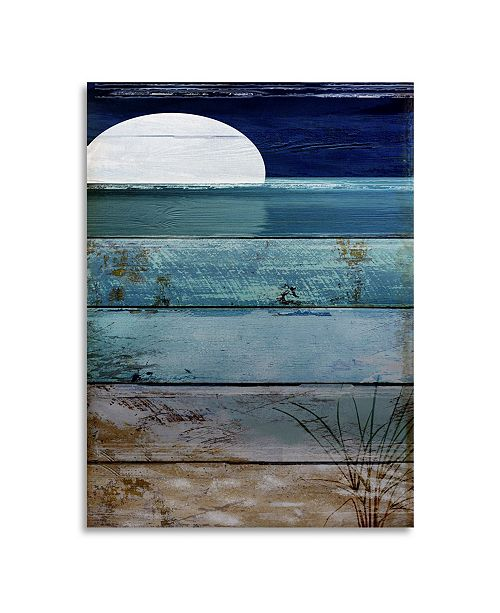 "Trademark Global Color Bakery Beach Moonrise I Floating Brushed Aluminum Art - 22"" x 25"""
