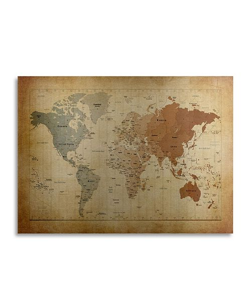 "Trademark Global Michael Tompsett Time Zones Map of the World Floating Brushed Aluminum Art - 22"" x 25"""