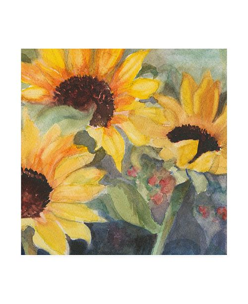 "Trademark Global Sandra Iafrate Sunflowers in Watercolor II Canvas Art - 15"" x 20"""