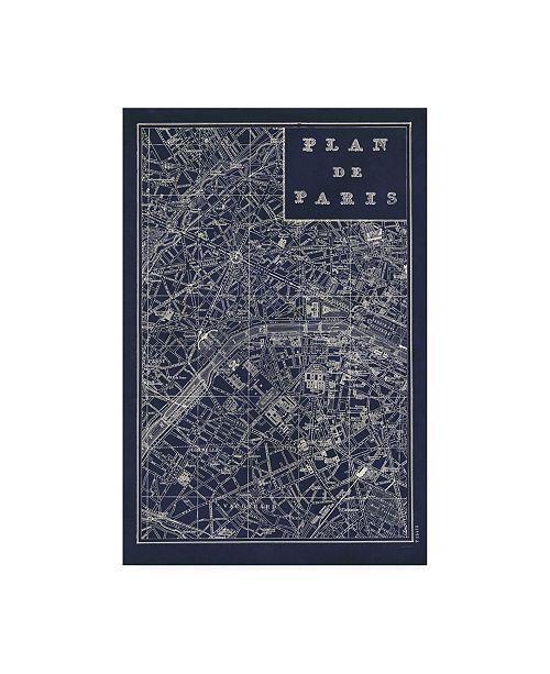 "Trademark Global Sue Schlabach Blueprint Map Paris Canvas Art - 37"" x 49"""