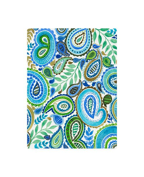 "Trademark Global Regina Moore Blue and Green Paisley II Canvas Art - 37"" x 49"""