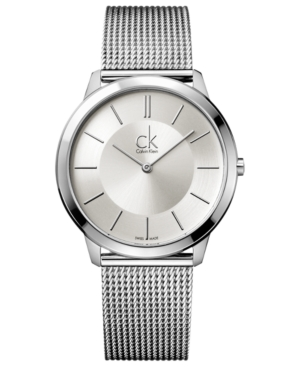 Calvin Klein Watch, Men's Swiss Minimal Stainless Steel Mesh Bracelet 40mm K3M21126