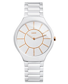 Rado Watch, Women's Swiss True Thinline Diamond Accent White Ceramic Bracelet 39mm R27957702