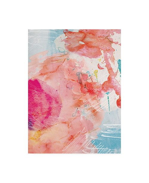 "Trademark Global Louis Duncan-He Abstract Turquoise Pink No. 1 Canvas Art - 15.5"" x 21"""