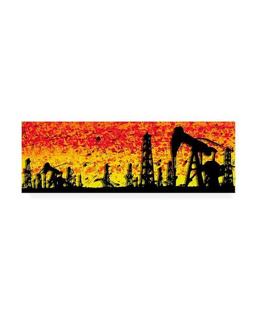 "Trademark Global Roderick Stevens Oklahoma Silhouette Canvas Art - 15.5"" x 21"""