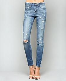 Mid Rise Distressed Waistband Skinny Jeans