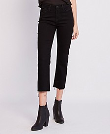 High Rise Raw Hem Crop Straight Leg Jeans
