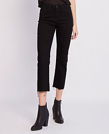 Flying Monkey High Rise Raw Hem Crop Straight Leg Jeans