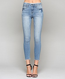 High Rise Frayed Waistband Crop Skinny Jeans