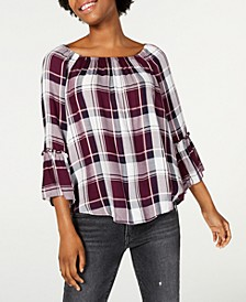 Plaid Off-The-Shoulder Top