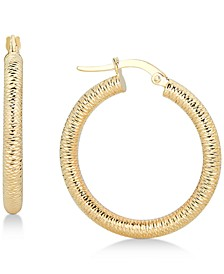 Textured Tube Hoop Earrings in 14k Gold