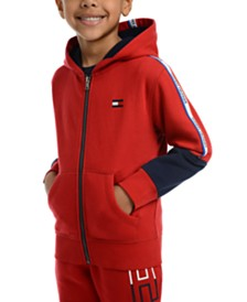 Tommy Hilfiger Little Boys Vinny Pieced Colorblocked Full-Zip Fleece Logo Hoodie