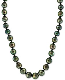 """EFFY® Cultured Tahitian Pearl (8mm) 18"""" Collar Necklace in 14k White Gold"""