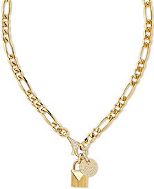 "Crystal Padlock 16"" Chain Necklace in 14k Gold-Plate Over Sterling Silver"