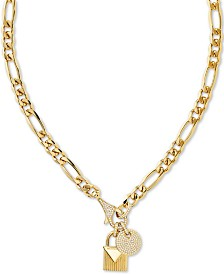 "Michael Kors Crystal Padlock 16"" Chain Necklace in 14k Gold-Plate Over Sterling Silver"