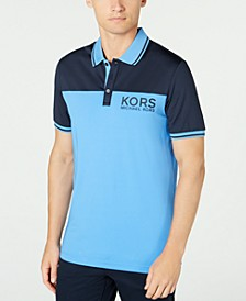 Men's Performance Stretch Sport Colorblock Logo Polo Shirt, Created for Macy's