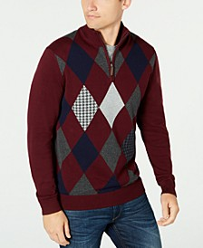 Men's Pima Argyle Quarter-Zip Sweater, Created for Macy's