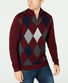 Club Room Men's Pima Argyle Quarter-Zip Sweater, Created for Macy's