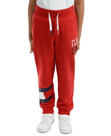 Tommy Hilfiger Little Boys Kent Logo-Print Red Fleece Sweatpants